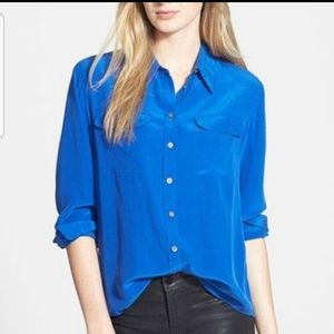 Two by Vince Camuto 100% silk royal blue blouse